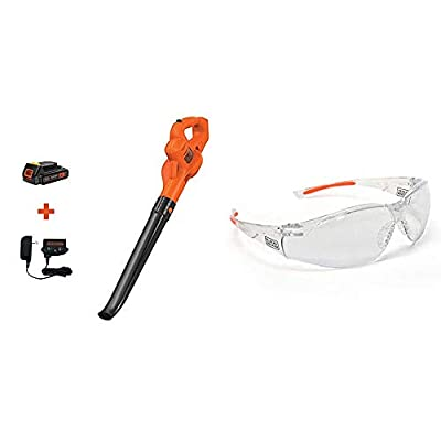 BLACK+DECKER 20V MAX Sweeper with Safety Eyewear, Lightweight, Clear Lens (LSW221 & BD250-1C)
