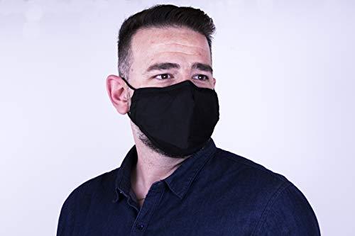 KingSon Mascarillas de tela negras y lavables más filtros 2.5