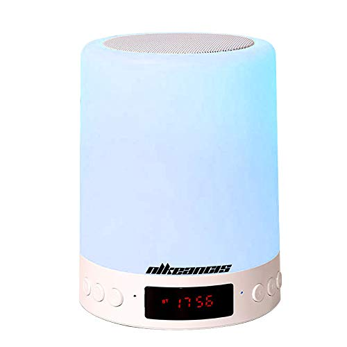 Night Lights Bluetooth Speaker, 6 Color Changing Alarm Clock with Touch Control LED Lamp with FM AUX,Best Gift for Kids,Party,Outdoor, Bedroom