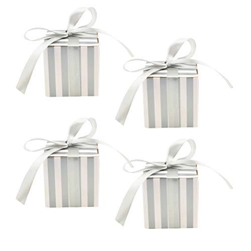 BESTONZON 50 peças de caixas quadradas para presentes listradas para doces com fita para decorações de casamento, chás de bebê, noivas, festas de aniversário (fita prateada)