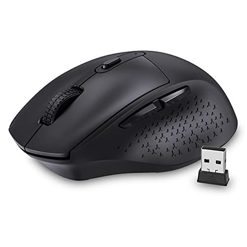 Silent Wireless Mouse - 2.4G Cordless Mouse Featuring Less Click Noise, Ergonomic Hand Shape 800 / 1200 / 1600 / 2400 / 3200 DPI 6 Buttons for Laptop Desktop PC MacBook Black