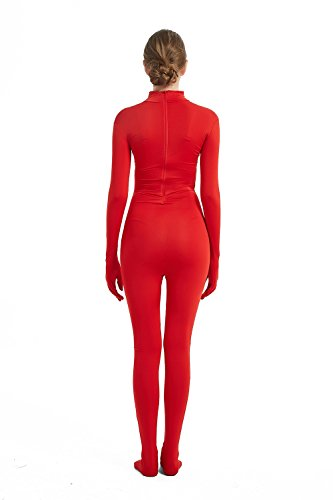 Zentai Bodysuit Without Headgear Cosplay Costume Elastic Spandex Lycra Mens Womens Unisex Masquerade Carnival Halloween Large Red