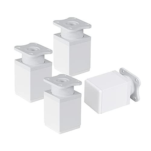 LouMaxx Möbelfüße verstellbar eckig– 4er Set 40x40x60mm in Weiß inkl. Befestigungsplatte – Füße für Möbel aus Aluminium – Hochwertige Schrankfüsse für individuelle DIY-Möbel