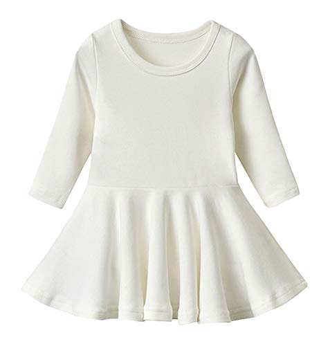 GSVIBK Baby Girls Cotton Dress Toddler Solid Dresses Girl Casual Ruffle Dresses 476 Beige 120