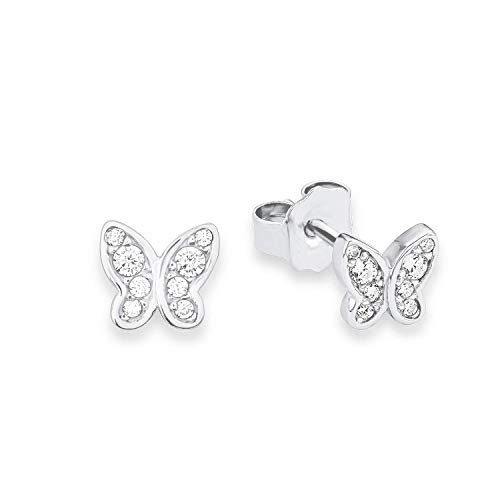 s.Oliver 567640 Teenage Girls' Butterflies Pierced Earrings in Rhodium-Plated 925 Silver, White Zirconia, One size