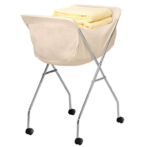 EasyComforts Laundry Cart With Wheels  Collapsible with Removable Liner - Rolling Hamper Cart with Metal Frame