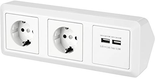 Regleta de 2 enchufes para esquina, con 2 puertos de carga USB, 230 V, 16 A, 3600 W, T1-R, color blanco