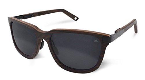 Fento | Specta - Handgefertigte Sonnenbrille aus Holz | Design Holz-Sonnenbrille für Damen und Herren | Federscharniere aus Edelstahl | inkl. Brillenetui | Retro | Unisex (Wenge - Schwarz - Grau)