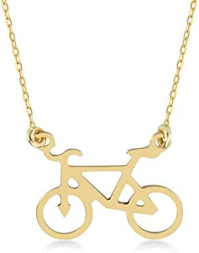 GELIN 14k Yellow Gold Bicycle Chain Necklace Bike Pendant Necklace for Sport Gifts Travel Jewelry product image