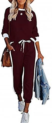ASKSA Damen Jogginganzug 2 Teilig Sportanzug Freizeitanzug Trainingsanzug Hausanzug Streifen Sportswear Lose Homewear Set mit Taschen(Weinrot,S)