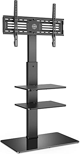 Floor TV Stand 3 Shelves for 32' 65' with 60 deg Swivel Bracket 6 Adjustable Heights Cable Management Holds 40kgs/88lbs MAX.