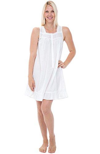 Alexander Del Rossa Womens 100% Cotton Lawn Nightgown, Sleeveless Button Up Ruffled Sleep Dress, Medium White (A0591WHTMD)
