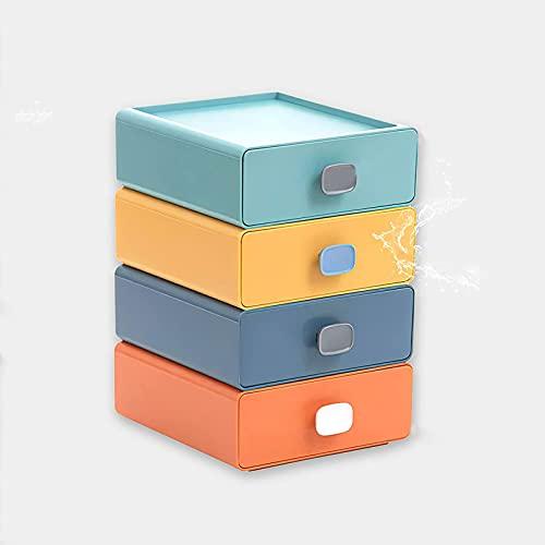 Caja de Almacenamiento de cajones creativos Multifuncional, Almacenamiento de Escritorio de cajones de Oficina, cajón de Almacenamiento de plástico apilable,(Cuatro)