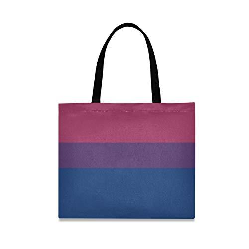 Bolso de hombro divertido de gran capacidad cuadrada Bandera de sexualidad bisexual Bolso de amor Hombro 19.7 X 16.9in Impresión para niñas Damas Compras Trabajo diario