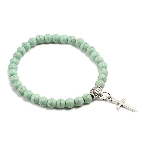 SKYROPNG Naturstein Armband,Türkis 6Mm Perlen Kreuz Glücksbringer Armband Gebet Elastischen Seil Armbänder Armreifen Schmuck Geschenke Für Männer Frauen