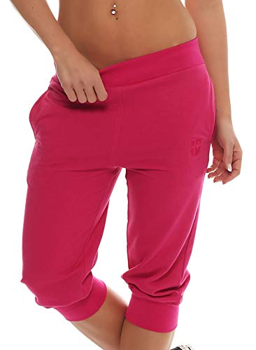 Gennadi Hoppe Damen 3/4 Trainingshose Sporthose Kurze Hose Sport Fitness Jogginghose Shorts Barmuda, pink,S