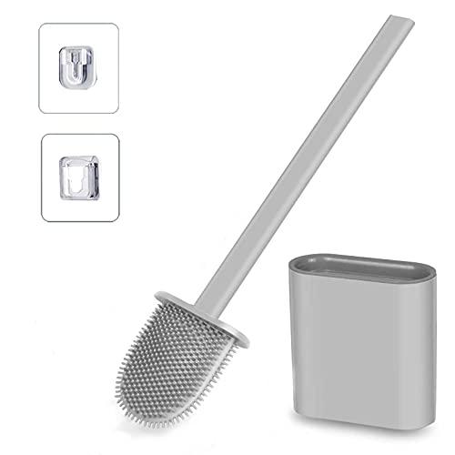 Toilettenbürste Antibakterielle Klobürste aus Silikon und Behälter WC Bürste mit Schnell Trocknendem Haltersatz Halter