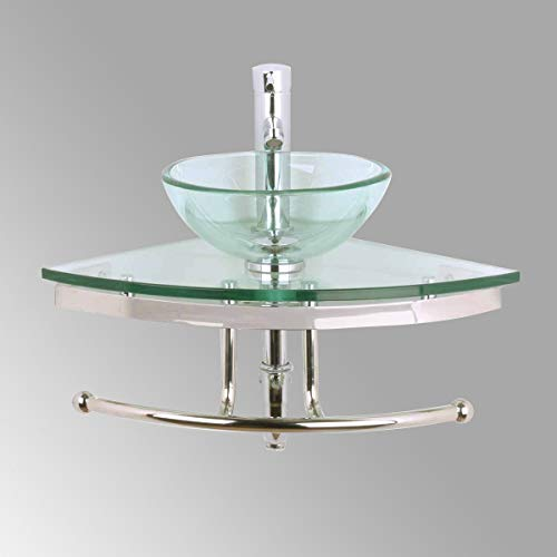 Renovators Supply Talula Corner Glass Wall Mounted Sink Round Shape Wall Hung Bathroom Vessel Sink Crystal Clear Tempered Glass Console With Chrome Faucet, Pop Up Sink Drain And Towel Bar Combo