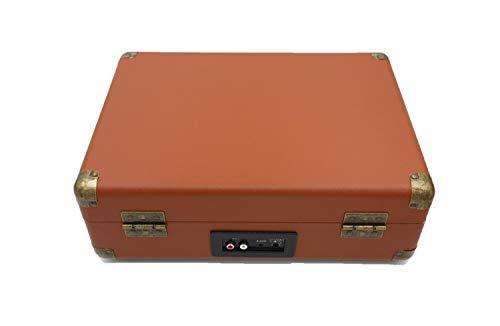 Bärbar skivspelare med väska, retrodesign, med 2 högtalare, för LP-skivor med 33/45/78 / min, med cinch och AUX högtalaranslutning, brun