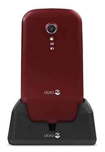 Doro 2404 Téléphone Portable 2G Dual SIM à Clapet Débloqué pour Seniors avec Grandes Touches, Touche d'Assistance et Socle Chargeur Inclus (Rouge) [Version Française]