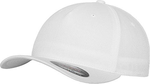 Flexfit 5 Panel Baseball Cap - Unisex Mütze, Kappe für Herren und Damen, einfarbige Basecap, rundum geschlossen - Farbe white, Größe S/M