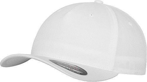 Flexfit 5 Panel Baseball Cap - Unisex Mütze, Kappe für Herren und Damen, einfarbige Basecap, rundum geschlossen - Farbe white, Größe L/XL