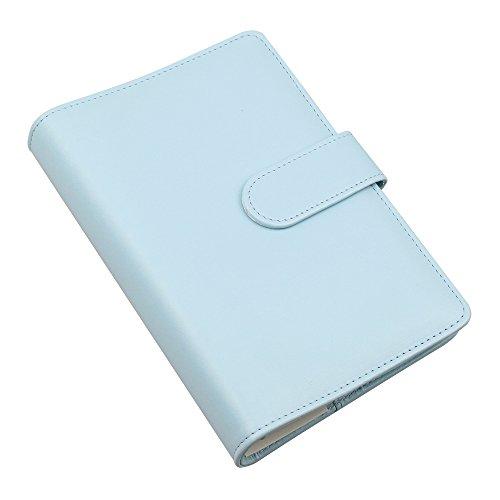 Notizbuch, PU-Kunstleder, A6-Format, nachfüllbar, Ordner mit 6er-Ringsystem für A6 Füllpapier, Reisetagebuch Cover mit Visitenkartenfach, Magnetschnalle Mint Blue