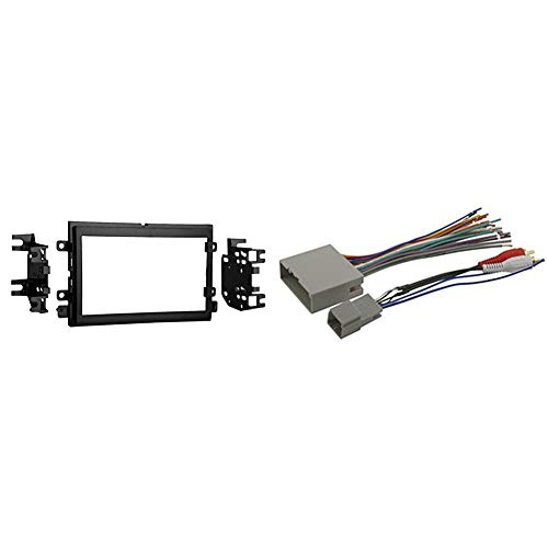 Metra 95-5812 Double DIN Installation Kit for Select 2004-up Ford Vehicles -Black & SCOSCHE 2003-08 Ford Premium Sound or Audiophile; Power/Speaker and RCA to Sub Amp Input Connectors Wire Harness