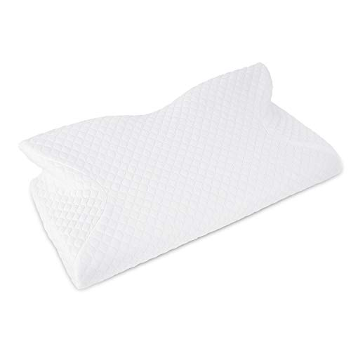 Keedox Contour Memory Foam Pillow Ergonomic Cervical Pillow for Neck Pain, Orthopedic Sleeping Pillows for Side Sleepers, Back and Stomach Sleepers (White - Memory Foam Pillow)