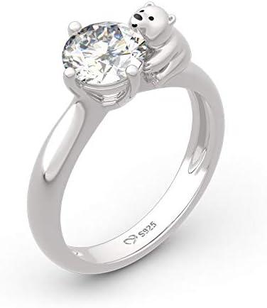 Jeulia Polar Bear Inspired Round 卸売り Fashio Cut Ring Sterling 日本正規品 Silver