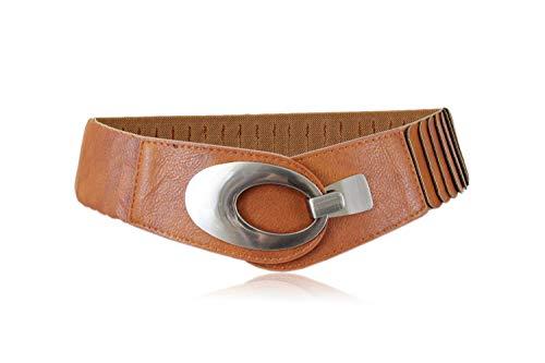 irisaa Large ceinture élastique pour femme avec fermeture à crochet - Marron - taille unique
