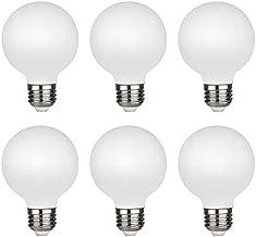 G25(G80) 4.5W Globe Edison LED Light Bulb, Soft White 2700K, CRI90 Dimmable 450lm , E26 Medium Base, Milky Glass Finishing, Perfect for Vanity Makeup Mirror, Droplight, Floor lamp(4.5W-2700K-6pack)