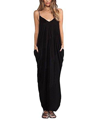 ZANZEA Mujeres Casual Playa Elegante Algodón Vestido Camiseta Largo Cuello V Sin Mangas Negro EU 42