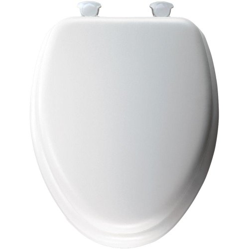 MAYFAIR 113EC 000 Soft Toilet Seat Easily Removes, ELONGATED, Padded with Wood Core, White
