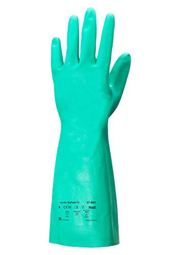 Ansell Sol-Vex 37-695 Nitril Handschuhe, Chemikalien- und Flüssigkeitsschutz, Grün, Größe 10 (12 Paar pro Beutel)