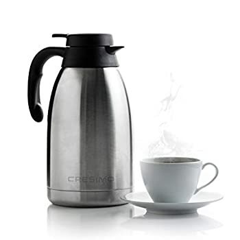 Cresimo 68 Oz Stainless Steel Thermal Coffee Carafe / Double Walled Vacuum Flask / 12 Hour Heat Retention / 2 Liter Tea Water and Coffee Dispenser