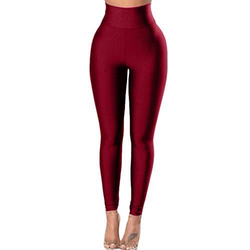 Sllowwa Sporthose Leggings Damen Yogahose Reine Farbe Gürtel schnell trocknend Fitness Sport Running Yoga Pants(Wein,S)