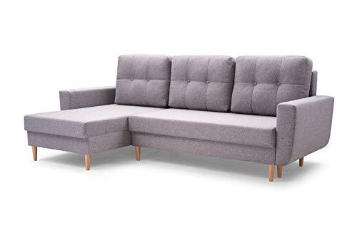 MOEBLO Sofa mit Schlaffunktion und Bettkasten, Couch für Wohnzimmer, Schlafsofa Federkern Sofagarnitur Polstersofa Wohnlandschaft mit Bettfunktion - Coral (Hellgrau, Ecksofa Links)