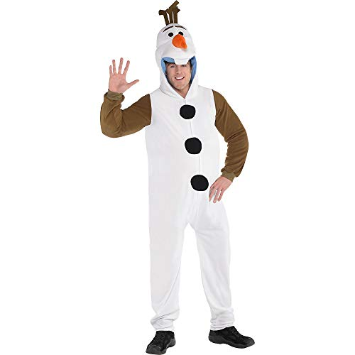 SUIT YOURSELF Frozen 2 Olaf Zipster Halloween Costume for Adults, Disney, Plus Size (48-52), with Attached Hood