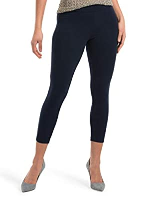 HUE Women's Wide Waistband Blackout Cotton Capri Leggings, Assorted, Navy, S