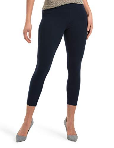 HUE Women's Wide Waistband Blackout Cotton Capri Leggings, Assorted, Navy, XL