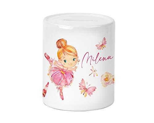Yuweli Ballerina Kinder-Spardose für Mädchen mit Namen personalisiert zur Einschulung Taufe Geburtstag Geburt Sparschwein (rotblonde Haare)