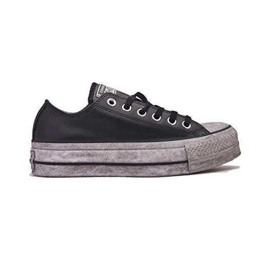 Converse 562910C Edición Limitada Ctas Lift Black Black Sneakers Cuero Cordones Plataforma 39