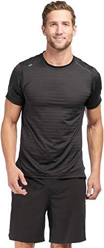Rhone Swift Short Sleeve Black Large, Breathable Lightweight Moisture Wicking Anti-Odor Workout Shirt