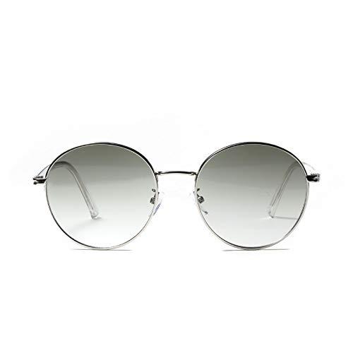 JINZUN Gafas de Sol Montura Grande Redonda Moda Color Lente Tendencia Gafas Retro Anti-Ultravioleta Verde Oscuro