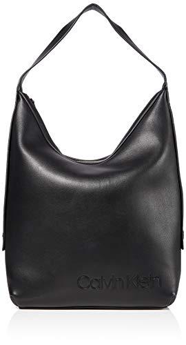 Calvin Klein Damen Attached Hobo Umhängetasche, Schwarz (Black), 42x43x15cm