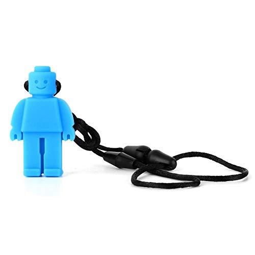 5 colores Collar de mordedor, Robot de silicona Mordedor colgante Autismo Masticar comodidad Collar de mordedor para bebés(Azul)