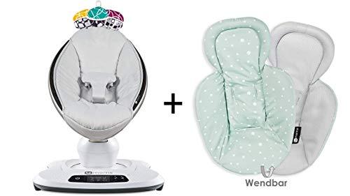 4moms Babywippe mamaRoo 4 Classic Grey & Neugeboreneneinsatz Cool Mesh