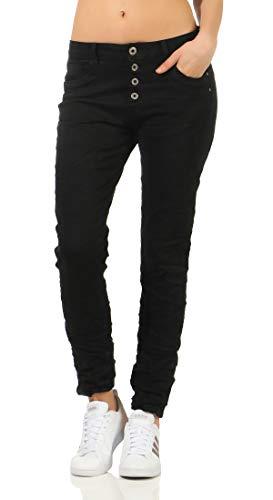 Karostar trendy Damenjeans im Boyfriends Style/Chino in aktuellen Farben/Hüfthose Stretch 61 (46, Schwarz)