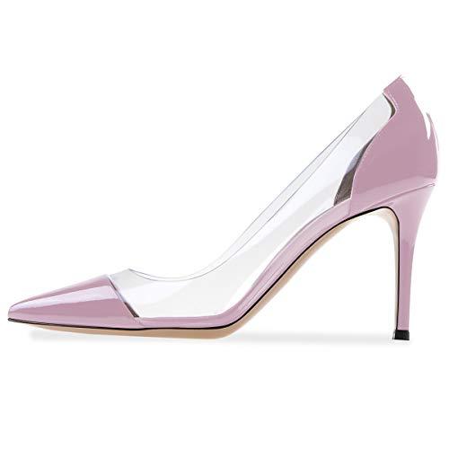 Eldof Womens High Heel PVC Pumps | 8CM Pointed Cap Toe Transparent PVC Stilettos | Wedding Dress Event Pumps Shoes Lavender US9
